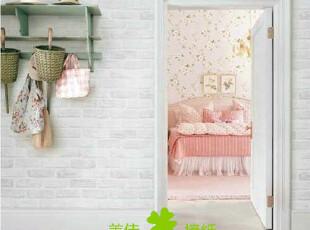 韩国纯纸砖墙纸 仿真灰白砖 客厅壁纸 灰白砖块 墙纸壁纸现货特价,壁纸/墙纸,