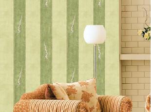 韩国原装进口背景墙壁纸-不干胶墙纸-家具翻新贴-绿条纹时尚简约,壁纸/墙纸,