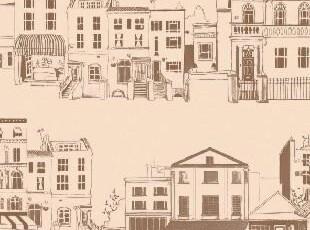 特价韩国进口墙纸/大卷纯纸酒吧壁纸/乡村手绘/时尚卡通.艺术小镇,壁纸/墙纸,