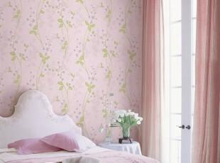 花香迷人、韩国进口纯纸壁纸、粉色田园素雅小花客厅卧室背景墙纸,壁纸/墙纸,