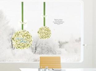 韩国进口清新绣球花-可移除客厅窗户卧室背景墙纸贴-浪漫满屋墙贴,壁纸/墙纸,