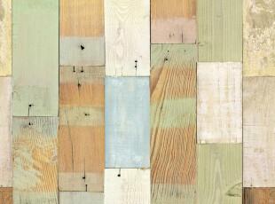 PVC自粘田园风格暖色木板温馨房间墙纸 仿古典木纹墙纸防水壁纸,壁纸/墙纸,