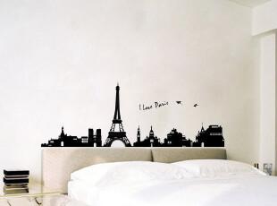 特价包邮埃菲尔铁塔三代客厅卧室沙发墙电视墙可移除墙纸壁纸墙贴,壁纸/墙纸,