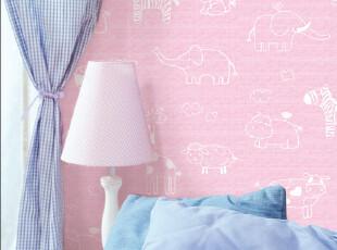 卡通粉色自粘pvc墙纸 客厅卧室儿童房特价卡通背景墙加厚自贴壁纸,壁纸/墙纸,