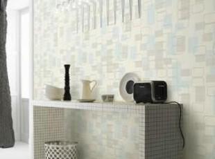 韩国进口壁纸/大卷纯纸客厅书房背景墙纸/抽象几何现代蓝灰色方格,壁纸/墙纸,