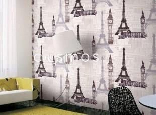 埃菲尔铁塔*韩国进口大卷PVC壁纸现代简约客厅沙发卧室背景墙纸,壁纸/墙纸,