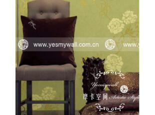 摩卡空间 沙发背景墙纸 欧式田园风格壁纸 雅致绿色无纺布花朵025,壁纸/墙纸,