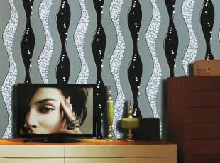 欧式壁纸客厅电视墙背景墙纸现代简约黑白条纹墙纸 7平方壁纸特价,壁纸/墙纸,