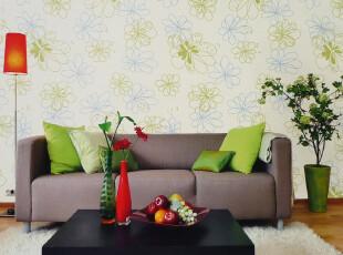 纸芸轩墙纸 SSYS-30408自然风尚清新沙发/客厅背景淡黄色PVC壁纸,壁纸/墙纸,