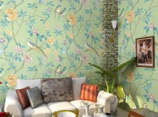 歌诗雅餐厅墙纸 卧室客厅背景 绿色花鸟大花壁纸6065-2东南亚风格,壁纸/墙纸,
