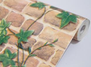 余美PVC自粘墙纸欧式复古仿真红砖绿叶厅卧室壁纸背胶Y8064,壁纸/墙纸,