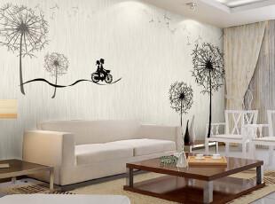 米素大型壁画 客厅沙发背景墙纸电视墙背景壁纸简约 浪漫蒲公英,壁纸/墙纸,