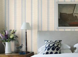 歌诗雅墙纸 现代简约客厅背景墙 蓝色竖条纹壁纸0131-1地中海风格,壁纸/墙纸,