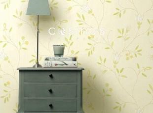 清新玉簪花-韩国特价大卷壁纸-黄绿色田园客厅沙发卧室背景墙纸,壁纸/墙纸,