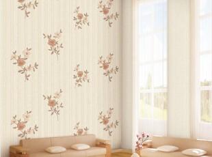 温馨淡雅山茶花/韩国正品纯纸/现代竖条纹客厅卧室背景墙纸壁纸,壁纸/墙纸,