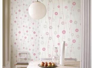 韩国进口白色壁纸/环保纯纸/时尚现代/粉色圆圈客厅沙发背景墙纸,壁纸/墙纸,