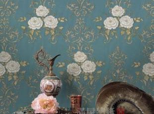 蓝色底白牡丹-韩国进口大卷PVC古典客厅卧室电视沙发背景墙纸壁纸,壁纸/墙纸,