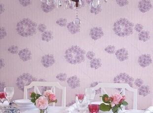 爱己如风 韩国原装韩式田园紫花背景墙纸温馨H33【包邮】,壁纸/墙纸,