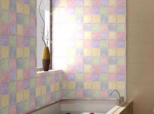 PVC自粘七彩色马赛克墙纸 厨房浴室卫生间正品防水格子个性墙贴纸,壁纸/墙纸,