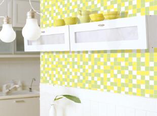 厨房卫生间 防水墙纸 黄绿色马赛克格子PVC自粘温馨墙贴纸 壁纸,壁纸/墙纸,