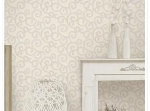米白色莨苕叶、韩国进口纯纸、大卷抽象艺术客厅沙发卧室背景墙纸,壁纸/墙纸,