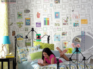 格兰布朗进口壁纸儿童DIY环保纯纸墙纸儿童房卧室背景简约现代,壁纸/墙纸,