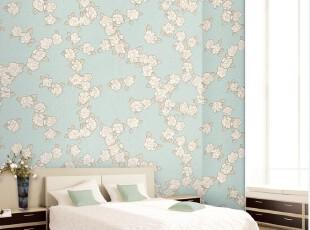 清新茉莉花香/韩国正品纯纸/蓝色地中海客厅卧室背景墙纸壁纸,壁纸/墙纸,