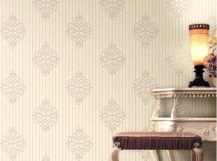 简欧暗条纹 韩国PVC壁纸 米色大马士革客厅书房卧室沙发背景墙纸,壁纸/墙纸,