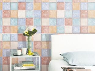 多彩大格-韩国进口-防水瓷砖贴-自粘式壁纸-即时墙纸-马赛克贴纸,壁纸/墙纸,