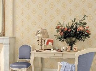 菱形大马士革/韩国正品壁纸/大卷纯纸墙纸/欧式客厅卧室金色壁纸,壁纸/墙纸,