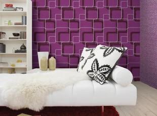 简约风格艺术格子/韩国PVC壁纸/几何抽象深紫红色酱紫色背景墙纸,壁纸/墙纸,