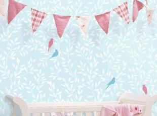 特价韩国进口16.5大卷PVC天蓝色枝条剪影儿童房卧室背景墙纸壁纸,壁纸/墙纸,