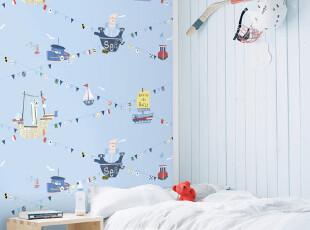韩国代购|蓝色帆船海洋|PVC大卷|可爱儿童房卡通卧室背景墙纸壁纸,壁纸/墙纸,