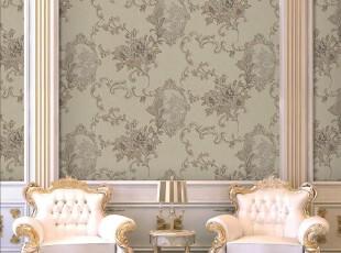 高雅艺术.韩国进口PVC壁纸.欧式复古大花客厅沙发卧室背景墙纸,壁纸/墙纸,