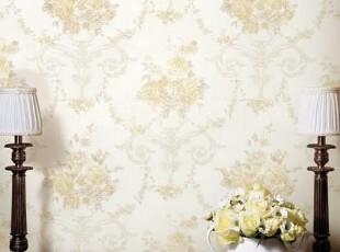 玫瑰庄园*韩国进口16.5大卷PVC壁纸欧式田园客厅沙发卧室背景墙纸,壁纸/墙纸,
