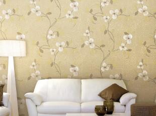 韩国代购壁纸|蔷薇之恋|PVC大卷温馨客厅卧室背景墙纸|米色花藤,壁纸/墙纸,