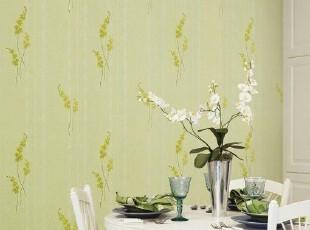 绿色小花韩国代购特价纯纸大卷壁纸田园清新客厅餐厅卧室背景墙纸,壁纸/墙纸,