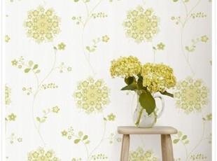 特价韩国进口壁纸/大卷纯纸客厅卧室背景墙纸/绿色花球.漂亮藤花,壁纸/墙纸,