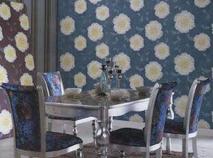 清水芙蓉韩国代购蓝色花朵PVC特价大卷壁纸客厅沙发卧室背景墙纸,壁纸/墙纸,