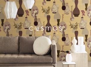 精美花瓶插花*特价韩国纯纸大卷壁纸*后现代客厅卧室沙发背景墙纸,壁纸/墙纸,