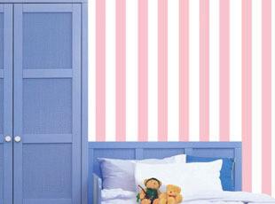 客厅卧室房间装修墙纸 条纹地中海浪漫温馨ktv沙发电视背景墙壁纸,壁纸/墙纸,