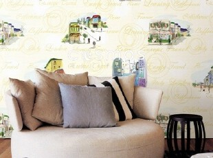 巴黎春天/韩国正品纯纸现代时尚/客厅餐厅书房时装店背景墙纸壁纸,壁纸/墙纸,