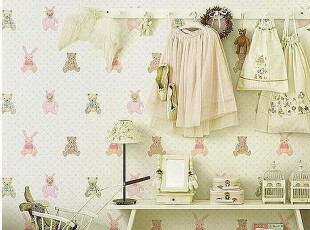 泰迪熊*韩国代购大卷PVC特价壁纸卡通儿童房公主房卧室背景墙纸,壁纸/墙纸,