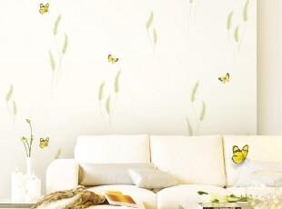 狗尾草与蝴蝶 韩国正品PVC壁纸浪漫田园客厅卧室电视客厅背景墙纸,壁纸/墙纸,
