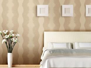 韩国进口壁纸/PVC简约干净浅咖啡客厅卧室背景墙纸/曲线竖条纹,壁纸/墙纸,