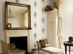 简欧田园华丽镜中缘韩国代购16.5平方大卷客厅沙发背景墙纸壁纸,壁纸/墙纸,
