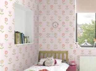 温馨唯美女孩房间/韩国代购壁纸/甜美粉红小花卧室儿童房背景墙纸,壁纸/墙纸,