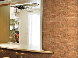 棕色砖纹韩国进口纯纸大卷英文字母客厅餐厅电视沙发背景墙纸壁纸,壁纸/墙纸,