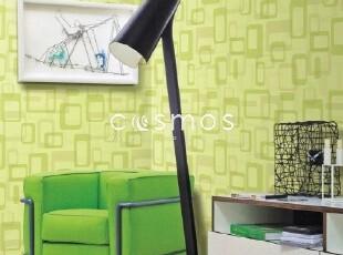 几何艺术方框/韩国正品纯纸现代客厅餐厅书房背景墙纸/有绿色白色,壁纸/墙纸,