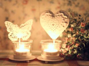 铁艺白色烛台带玻璃烛杯婚庆西餐家居摆件装饰2款可选,婚庆,